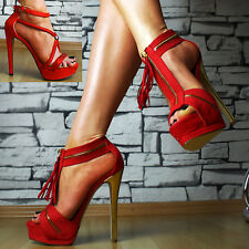 Luxus High Heels Pumps Plateau Sandalen Damen Schuhe Party SeXy Rot Glitzer