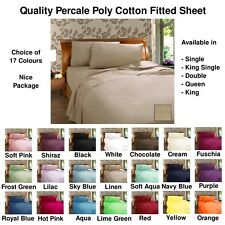 Poly Cotton Fitted Sheet 17 Colours - Single,KingSingle,Double,Queen,King Sizes