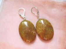 Gemstone Fossil coral 30mm flat oval silver lever back earring