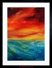 PAINTING SEASCAPE IMPRESSION SKY SUNSET WAVES OCEAN FRAMED PRINT F97X4345