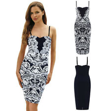 Paisley Print Spaghetti Strap Sexy Sleeveless Midi Bodycon Casual Party Dress