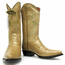 Men's New Turtle Belly Design Leather Cowboy Western Rodeo Boots J-Toe Beige