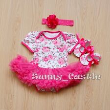 Newborn Baby Infant Girl Hot Pink  Romper Dress 3PCS Jumpsuit Outfits Clothes