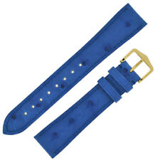 Hirsch MASSAI OSTRICH Leather Watch Strap and Buckle in ROYAL BLUE
