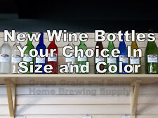 Glass Wine Bottles. YOUR CHOICE in size and color, NEW Glass Wine Bottles