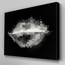 AB334 Black and White Lip Mark Canvas Wall Art Ready to Hang Picture Print