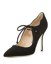 $1035 New Manolo Blahnik BB REFOLADA 115 Black Suede Pointy Pumps Heels Shoes 41