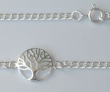 """925 Sterling Silver Tree of Life Charm Bracelet Anklet Curb Chain 6"""" to 12"""""""