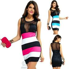 Blue Pink Black Mesh Sleeveless Mini Sexy Slim Bodycon Casual Summer Party Dress