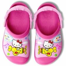 NEW Crocs Hello Kitty Plane Creative Clogs Girls Shoes 6/7 10/11 12/13 Pink