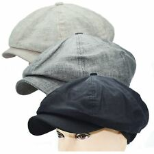 New Summer Linen Newsboy Applejack 8 Panel Cabbie Driving Snap Brim Hat Cap L/XL