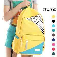 New fashion women's Colorful Canvas School Campus Book Backpack Shoulder Bag C6
