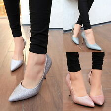 Womens Glitter Slim High Heels Pumps Stilettos Pointed Toe Office Lady Shoes