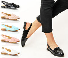 New womens ladies summer smart office work flat slingback loafers shoes size