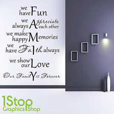 FAMILY WALL STICKER QUOTE - BEDROOM LOUNGE WALL ART DECAL X366