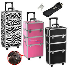 Multifunction Rolling Trolley Makeup Beauty Train Case Cosmetic Organizer wStrap