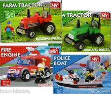 New Building Brick SETS Police Boat Fire Engine Farm Tractor Sets Kids FUN