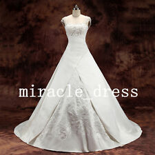 NEW A-line satin embroidery wedding dresses Bridal Gown Custom Size 6-16