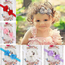 Baby Girl Kid Pearl Headband Rose Bow Lace Flower  Baby Hairband  pretty