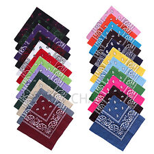 100% Cotton Paisley Bandanas Head Wrap Scarf Wristband Handkerchief Double Sided