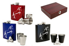 Personalised 6oz Stainless Steel Hip flask Set & Gift Box, Laser Engraved Horse