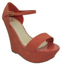 Delicious Shoes Women Wedge Heel Open Toe Coral Pink Ankle Strap Platform WILEY
