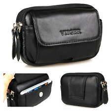 Genuine Leather Mens Waist Bag Fanny Pack Phone Pouch Travel Belt Loops Bum Bag