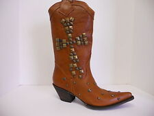 Women's Stetson 12-021-6102-0412 Stud Cross Brown Leather Cowgirl Western Boots