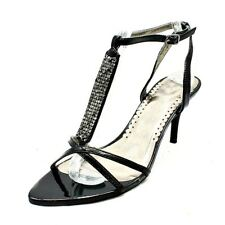 Black studded t-bar ankle strap party shoes / sandals