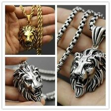 Fashion Stainless Steel Gold/Silver Mens Lion Head Pendant Necklace Jewelry
