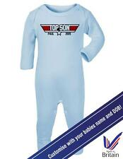 "Baby Romper ""Top Son"" With Personalised NAME and DOB, Top Gun - Sleep Suit"