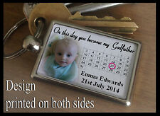Metal keyring key fob, Personalised gift, on this day you became my Godfather.
