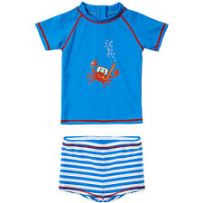H2O Baby Boys Little Crab Print UPF40 Protection Zip 2pc Sunsafe Swim Set