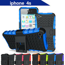 TPU Case Cover Apple iPhone 4 4S Silicone Shockproof Heavy Duty With Kickstand