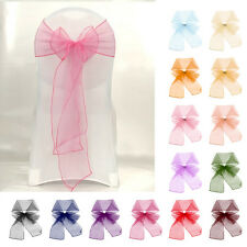 1 10 50 100PCS Organza Sashes Chair Cover Sash Bow Wedding Anniversary Party