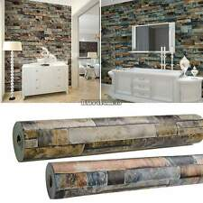 Modern Vintage 3D Effect Wallpaper Natural Embossed Stack Stone Brick Tile Vinyl