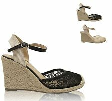 Women's Lace Overlay Closed Toe Ankle Strap Espadrille Wedge Sandals MONIQUE