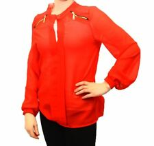 Red chiffon blouse / shirt with zip shoulder detail