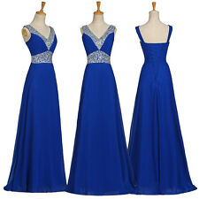 BEADED Long Evening Formal Party Queen Ball Gown V-Neck Prom Bridesmaids Dresses