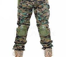 Tactical Airsoft Shooting Paintball Combat Pants Knee Pads Digital Woodland