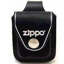 ORIGINAL ZIPPO GENUINE LEATHER CLIP ON LIGHTER BELT POUCH HOLSTER IN BLACK / TAN