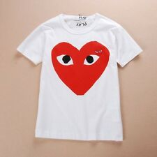 CDG PLAY Comme des Garcons White Tee TShirt red heart FREE SHIPPING