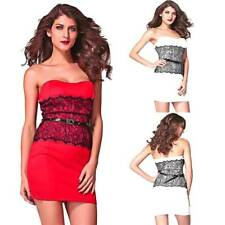 Black Lace Bodycon Sexy Strapless Dress Formal Wedding Prom Cocktail Party Dress