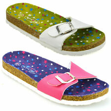 Girls Kids Womens New Flat Slip On Sandals Summer Flip Flops Mules Shoes Size