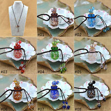 Essential Oil Diffuser Glaze Perfume Pendant Necklace Black Blue Red New Fashion