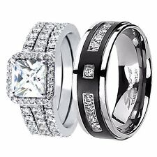 Her 925 Sterling Silver 2.03Ct His Titanium Engagement Wedding Ring Band Set