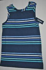 Girls Old Navy Crew Neck U-Back Blue Striped Shirt Top, Size