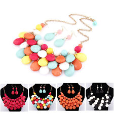 Hot Teardrop beads Set Colorful Bubble bib Statement Women Necklace with earring