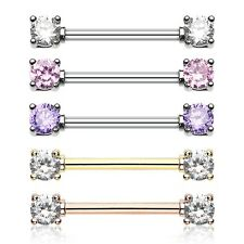 Rose Gold Double Prong Gem Nipple Barbell Ring Clear Pink Tanzanite Sexy CZ Pair