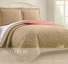New! Stella 3 Pc Reversible Bedspread Quilt Set Size Queen/ King Taupe Coral